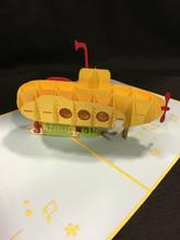 Handmade 3D Kirigami Card Submarine Yellow