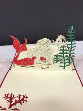 Handmade 3D Kirigami Card Little Mermaid Ariel