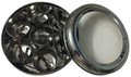 Stainless Steel Masala Dabba (Spices Container) with 7 Spoons, Clear Lid