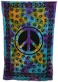 Indian Cotton Tapestry Tie & Dye Peace (135 x 220 cm)