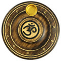 Wooden Round Incense / Cone Burner (Pack of 12) Painted Om