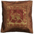Indian Cushion Cover Embroidery, Camel 16 x 16 inch