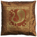 Indian Cushion Cover Embroidery, Peacock 16 x 16 inch