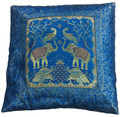 Indian Cushion Cover Embroidery, Parrot, Elephant, Deer 16 x 16 inch