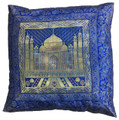 Indian Cushion Cover Embroidery, Taj Mahal 16 x 16 inch