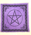 "Indian Cotton Tapestry Altar Cloth Pentacle 24"" x 24"" Purple"