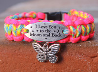 """I Love You to the Moon and Back"" Charm Tag Bracelet, Moon and Back Bracelet"