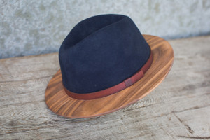 Navy Fedora W/ Walnut Brim