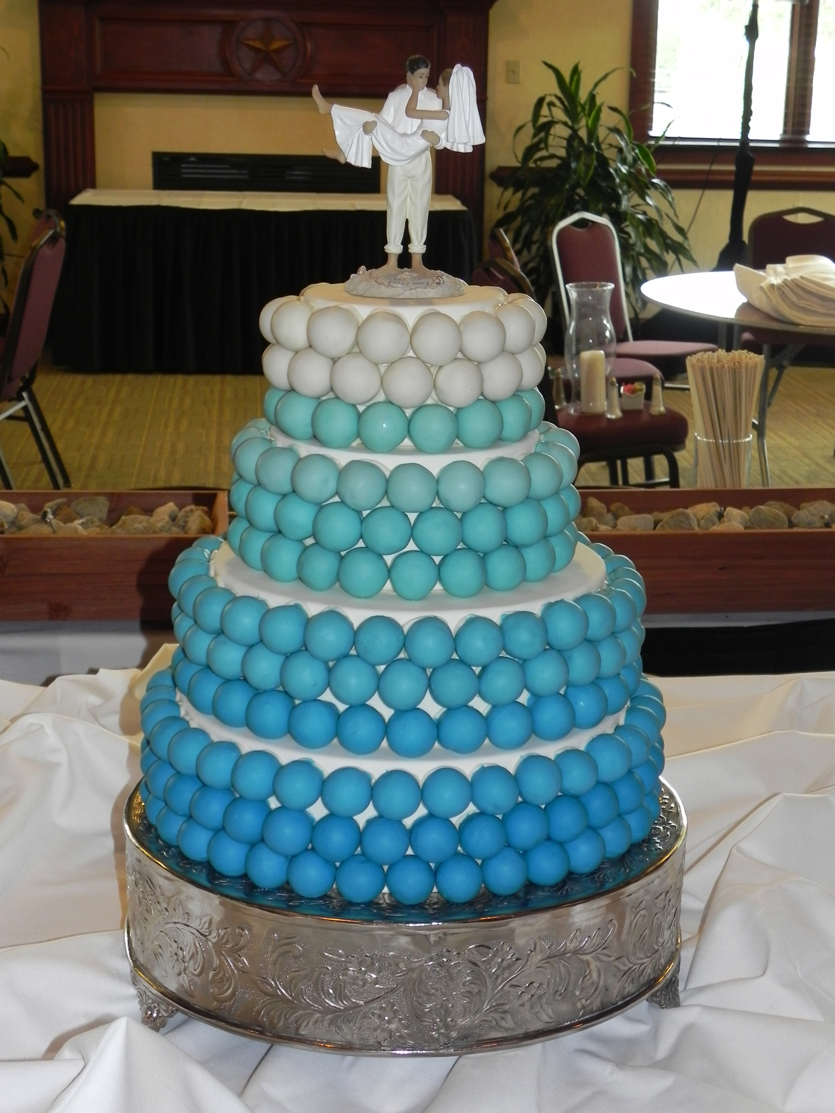 They Selected A Tiffany Blue Ombre Tiered Cake Ball Display With Cutting That Topped The Perfect Love Birds Topper