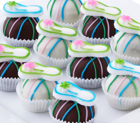 Whimsical flip flop cake balls