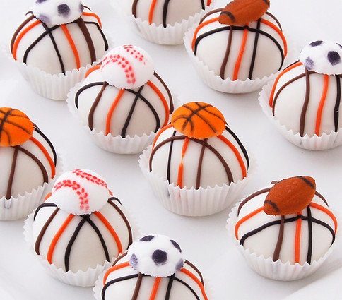 Delicious sports themed cake balls
