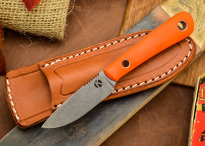 Dan Koster Knives: Scout 3v - Blaze Orange G-10 - Mini Modern Classic Sheath