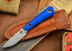 Dan Koster Knives: Scout 3v - Blue Glow G-10 - Mini Modern Classic Sheath