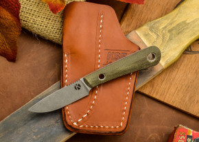 Dan Koster Knives: Scout 3v - Green Canvas Micarta - Pocono Sheath Brown