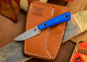 Dan Koster Knives: Scout 3v - Blue Glow G-10 - Adirondack Sheath Brown