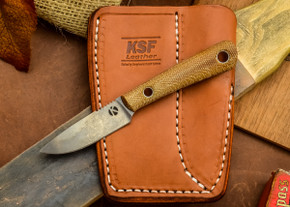 Dan Koster Knives: Scout 3v - Natural Canvas Micarta - Adirondack Sheath Brown