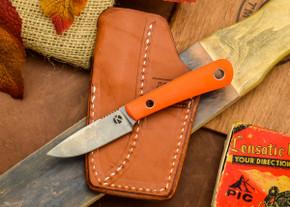 Dan Koster Knives: Scout 3v - Blaze Orange G-10 - Pocono Sheath Brown