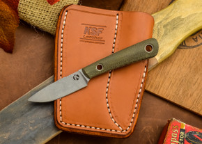 Dan Koster Knives: Scout 3v - Green Canvas Micarta - Adirondack Sheath Brown