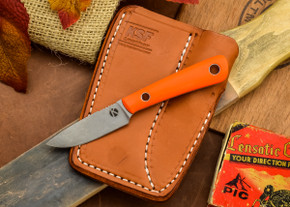 Dan Koster Knives: Scout 3v - Blaze Orange G-10 - Adirondack Sheath Brown