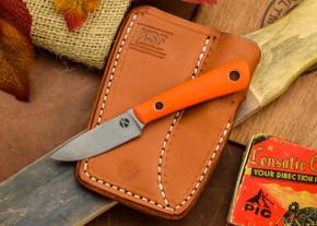 Dan Koster Knives: Scout 3v - Blaze Orange G-10 - Adirondack Sheath Brown