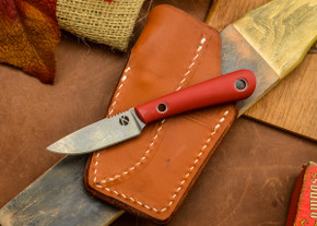 Dan Koster Knives: Scout 3v - Red G-10 - Pocono Sheath Brown