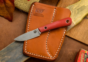 Dan Koster Knives: Scout 3v - Red G-10 - Adirondack Sheath Brown