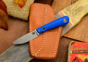 Dan Koster Knives: Scout 3v - Blue Glow G-10 - Pocono Sheath Brown