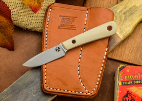 Dan Koster Knives: Scout 3v - Desert Tan G-10  - Adirondack Sheath Brown