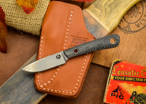 Dan Koster Knives: Scout 3v - Black Canvas Micarta - Pocono Sheath Brown