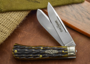 Great Eastern Cutlery: Northfield Un-X-LD #73 - Trapper - Antique Green Jig Bone - Two Blade