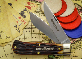 Great Eastern Cutlery: Tidoute #73 - Trapper - Autumn Gold Jig Bone - Unserialized - Two Blade
