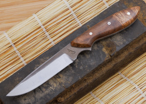 Carter Cutlery: Standard Neck Knife - Laminated White Steel - Stabilized Burl - 1