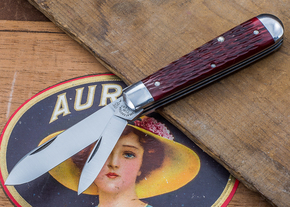 Great Eastern Cutlery: Tidioute - #15 Huckleberry Boy's Knife - Rust Red Jig Bone - Two Blade