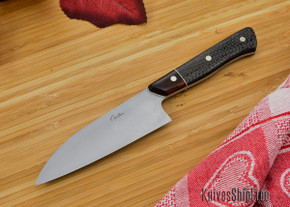 Carter Cutlery: Custom 4.1 Sun International Pro No-bolster Small Wa-bocho - Carbon Fiber / Ironwood