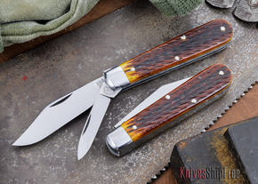 Great Eastern Cutlery: #15 - Tidioute - Huckleberry Boy's Knife - Antique Yellow Jigged Bone - Two Blade - Clip-point