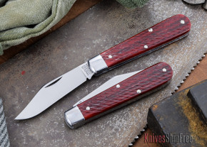 Great Eastern Cutlery: #15 - Tidioute - Huckleberry Boy's Knife - Rust Red Jigged Bone - Clip-point