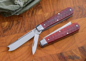 Great Eastern Cutlery: #15 Tidioute - Huckleberry Boy's Knife - Rust Red Jigged Bone - Two Blade