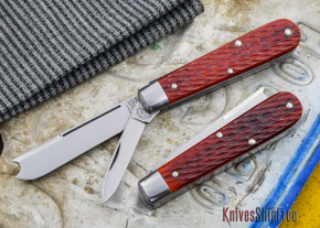 Great Eastern Cutlery: #15 - Tidioute - Huckleberry Boy's Knife - Red Rust Jigged Bone - Two Blade