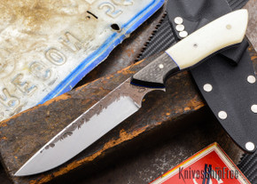 Carter Cutlery: Whitecrane Jr. - Bone / Carbon Fiber - Blue Liners
