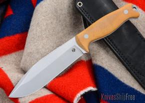 Dan Koster Knives: M.U.C.K. - CPM 3V - Natural Canvas Micarta - Black Leather