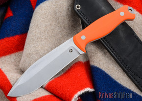 Dan Koster Knives: M.U.C.K. - CPM 3V - Orange G-10 - Black Leather
