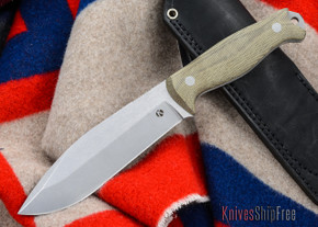 Dan Koster Knives: M.U.C.K. - CPM 3V - Green Canvas Micarta- Black Leather
