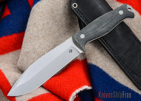 Dan Koster Knives: M.U.C.K. - CPM 3V - Black Canvas Micarta - Black Leather
