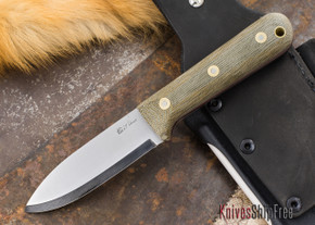 L.T. Wright Knives: Genesis DWX - Bead Blasted Green Micarta - Red Liners - Scandi Grind - A2 Steel