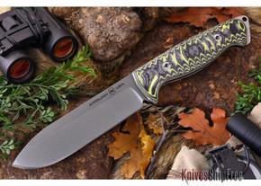 Ambush Knives: Ambush Alpha - Stonewash Finish - Sculpted Black & Yellow G-10 (T.S. 4/30)
