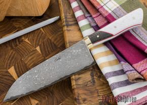 Carter Cutlery: 183mm Wa-bocho Kitchen Knife - White Corian & Carbon Fiber