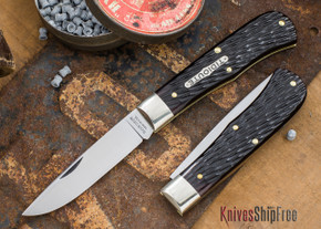 Great Eastern Cutlery: #73 - Tidioute - Trapper - Black Box Brown Jigged Bone