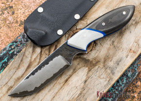 "Carter Cutlery: Murray's ""Perfect"" Model Neck Knife - Smoked Carbon Fiber & White Micarta - 60102"