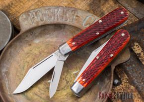 Great Eastern Cutlery: #15 - Tidioute - Huckleberry Boy's Knife - Rust Red Jigged Bone - Two Blade - Clip-point