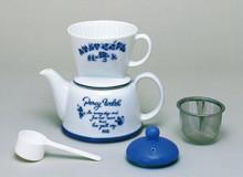 #35075 kalita 2 wat drip set (tea and coffee) blue poem